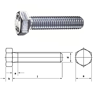 M16 DIN 933 8.8 Sechskantschrauben verzinkte Maschinenschrauben Gewindeschrauben Vollgewinde 60mm 5 St/ück