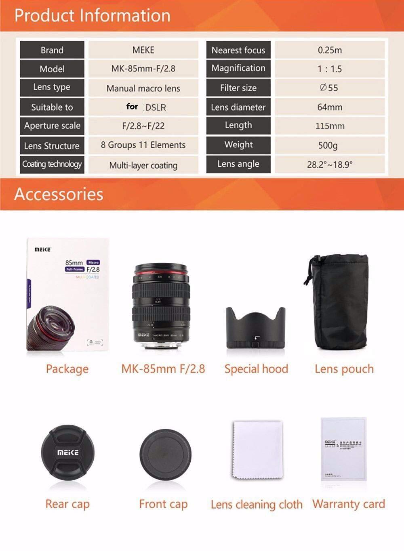 Meike MK-85-2.8 85mm F2.8 マニュアルフォーカスレンズ フルフレーム APS-C キヤノン ニコン デジタル一眼レフカメラ ソニー 富士フイルム 4/3マウントミラーレスカメラ用  Size: Sony E-Mount B07QWWSFRJ