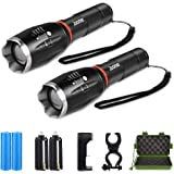 2 Pack High Lumen Flashlight, 1000 Lumen, Zoomable, 5 Modes, Cree LED, Waterproof Handheld Flashlight, Rechargeable Battery & Charger & Bicycle Mount Included