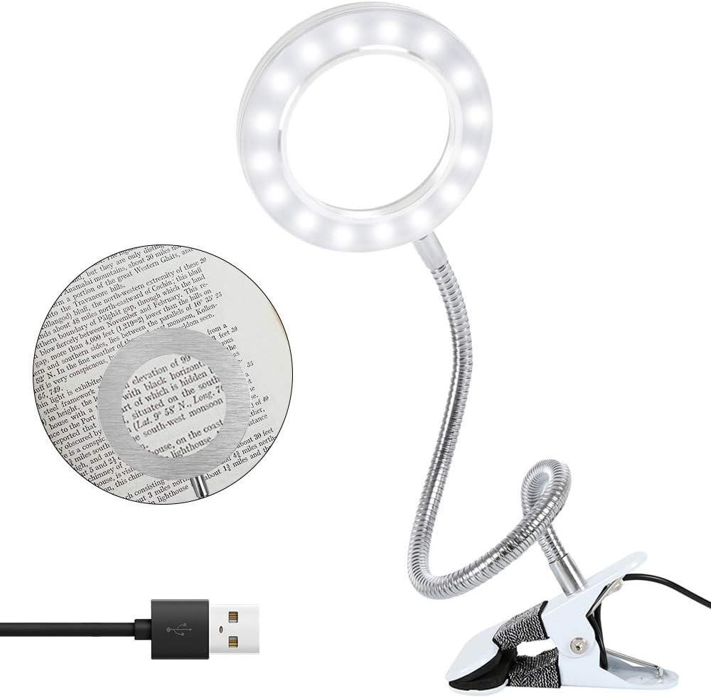 Lámpara con lupa LED, 8 unidades, luz diurna, lupa de mesa con abrazadera, USB, lámpara de mesa con lupa con LED para trabajos artesanales, leer, trabajar, costura, aficiones, visión débil