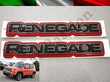 Par palabras logotipos Jeep Renegade laterales ORIGINALES Escudo Rojo Side Emblem: Amazon.es: Coche y moto