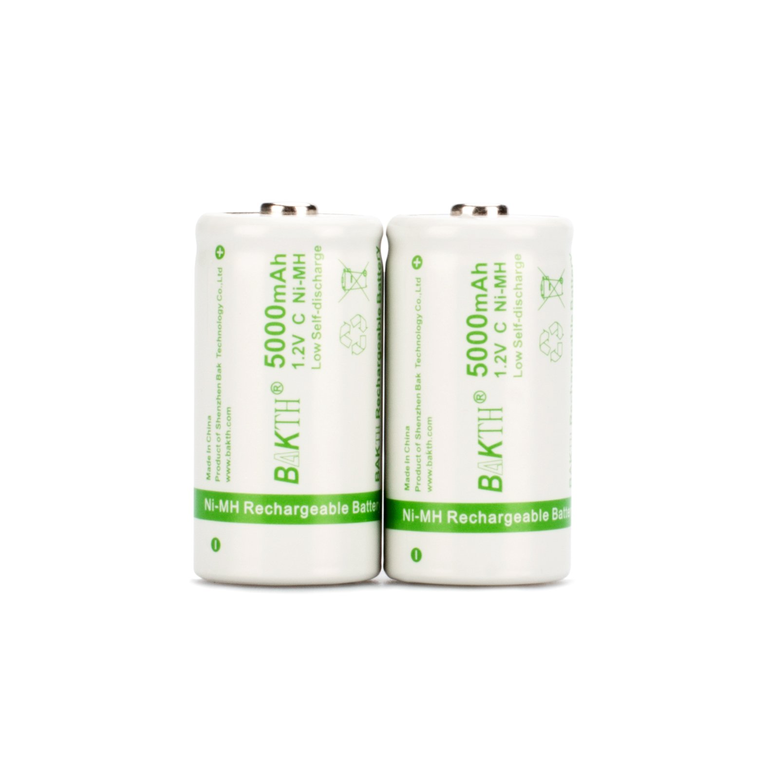 BAKTH Upgraded 5000mAh C Size High Performance NiMH Pre-Charged Low Self-Discharge Rechargeable Batteries for Household Devices (2 Pack)