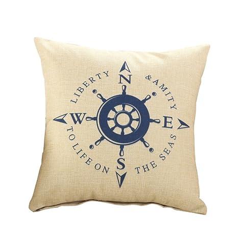 handfly patrón barco pirata de lino funda de almohada sofá ...