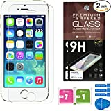 iPhone 5 Screen Protector [Set of 2] – Ballistic Tempered Glass – Maximum Impact Protection - 99.99% Crystal Clear HD Glass - No Bubbles – Cell Phone DIY® Protectors Kit for Apple iPhone 5 5C & 5S