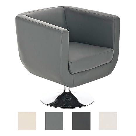 CLP Butaca de Salón Colorado V2 en Cuero PU | Silla Diseño Retro I Sillón Giratorio con Base Metálica | Silla Estilo Lounge Acolchada I Color: Gris