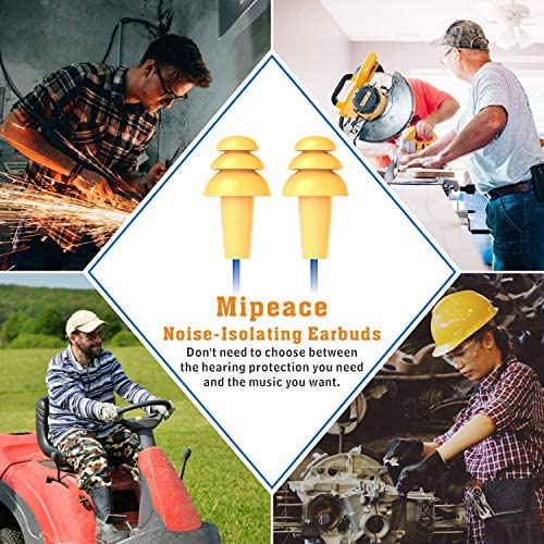Work Earbuds, Mipeace Safety Hearing Protection Industrial Ear plugs Headphones-OSHA Approved Noise Reduction Earphones for Work Construction Motorcycle 61j3ZFmh dL