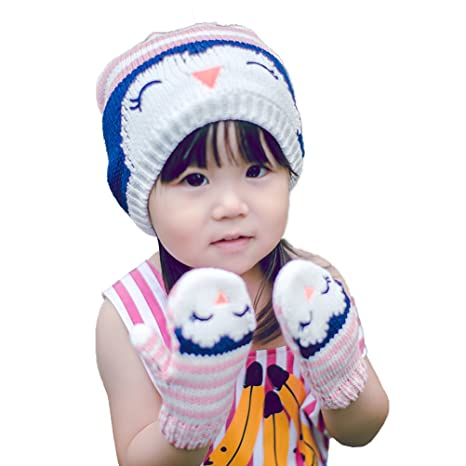 Jelinda® Petite fille Chouette Rayures en tricot Chapeau Ensemble de gants 84b69d8a471