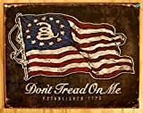 Collectible Badges Don't Tread On Me - American Flag Tin Sign 16 x 13in