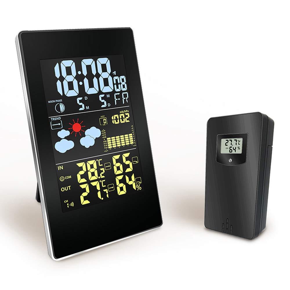 Konesky Stazione Meteo Wireless Termometro Digitale Orologio Previsioni Meteo Barometro igrometro con Alimentatore