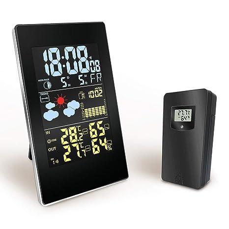 Konesky Estación meteorológica inalámbrica Reloj termómetro Digital Barómetro Exterior para Interiores Pronóstico del Tiempo Higrómetro con