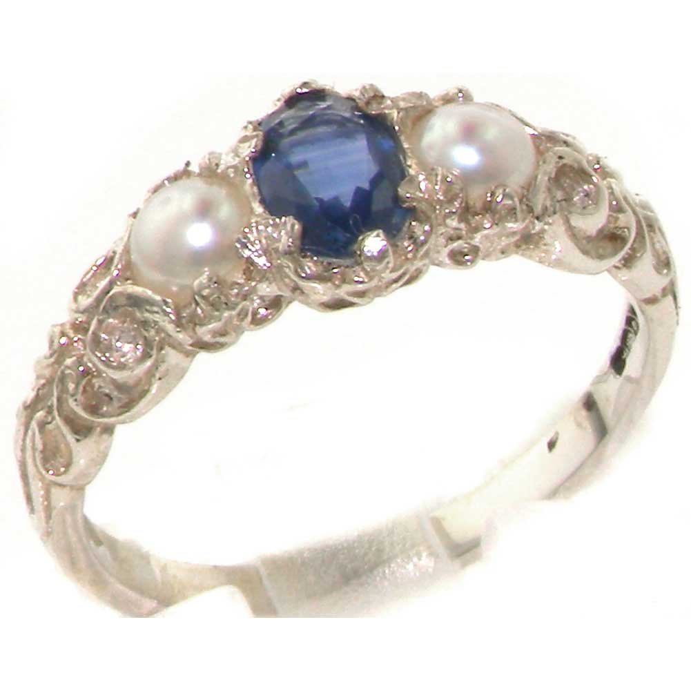 10k White Gold Natural Sapphire and Cultured Pearl Womens Trilogy Ring - Sizes 4 to 12 Available