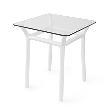 Amazon Com Umbra Konnect Glass Top Side Table White Kitchen Dining