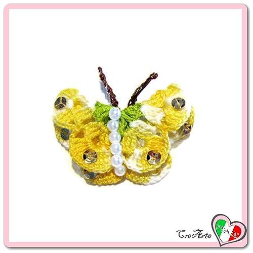 Mariposa verde y amarillo para aplicaciones, broche o imán ...