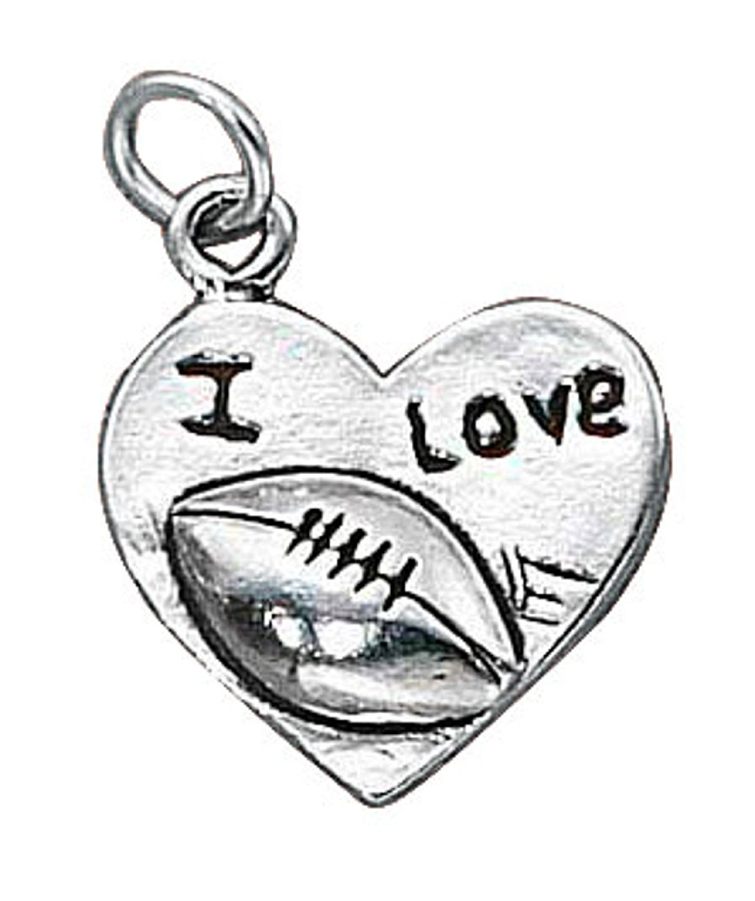 Sterling Silver 30'' Men's 1.5mm Box Chain I LOVE FOOTBALL Word Sports Pendant Necklace