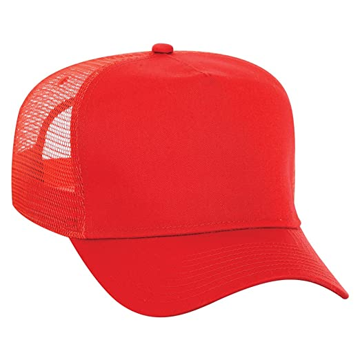 03370758235e82 OTTO Cotton Blend Twill 5 Panel High Crown Mesh Back Trucker Hat - Red at Amazon  Men's Clothing store: