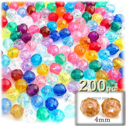 The Crafts Outlet 200-Piece Faceted Plastic Transparent Round Beads, 4mm, Multi Mix