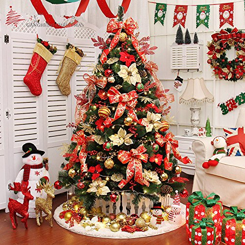 6 ft High-end Christmas Tree And Decoration Set (Red, 180CM) Flocked Christmas Tree Sale
