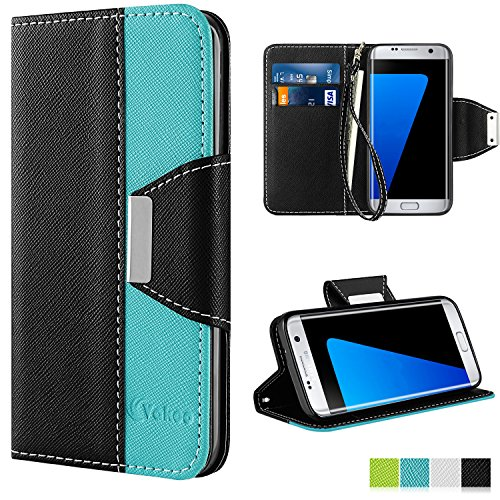Vakoo Galaxy S7 Edge Case [Book Style] Premium-PU Leather Wallet Folio Mobile Phone Protector Cover Flip Case for Samsung Galaxy S7 Edge (5.5 Inch) 2016 (Blue Black) - Edge Mobile