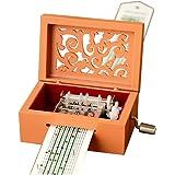 Vintage Carved Wood Mechanism Musical Box Handcrank Music Box Gift (15 Note-Orange)