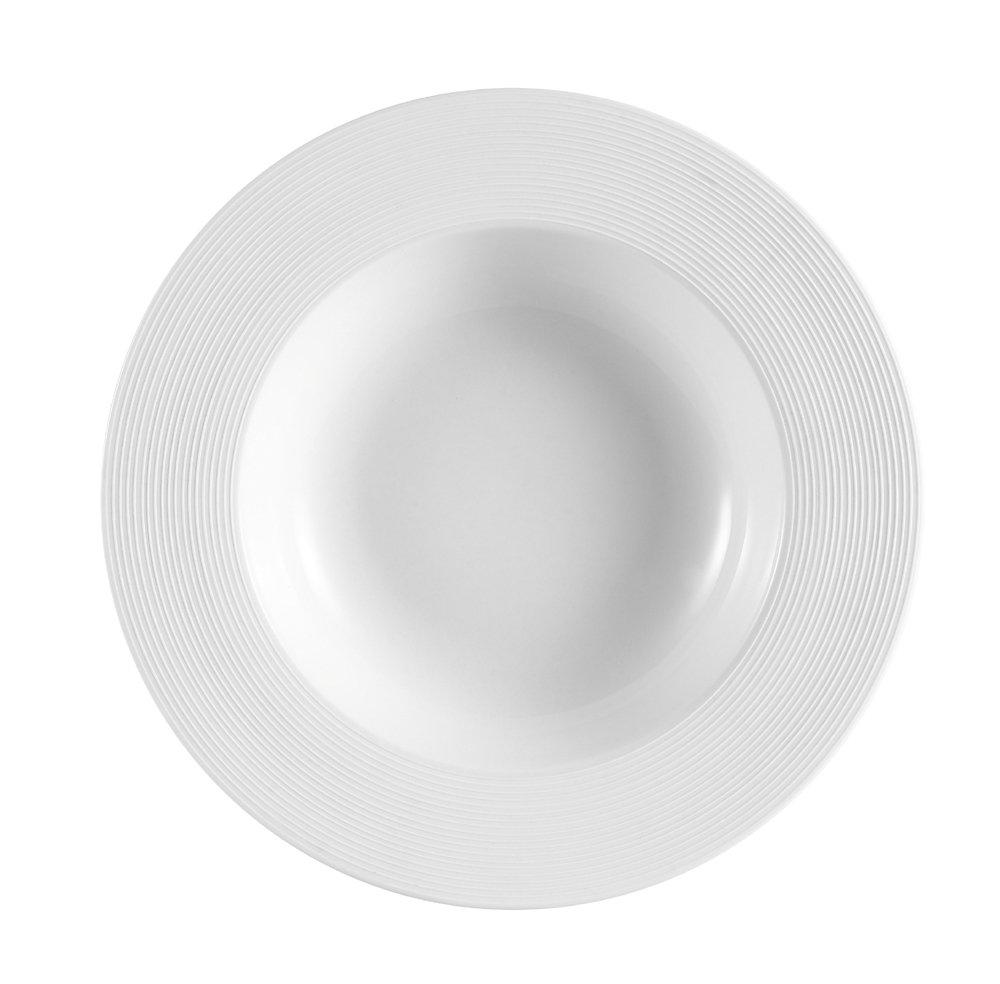 CAC China TST-110 Transitions 16-Ounce Non-Glare Glaze Super White Porcelain Pasta Bowl, 11-Inch, Box of 12