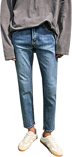 MEOSIDDA ストレッチストレートデニムジーンズテーパード ゆったり濃い目出退勤春夏秋今シーズンおしゃれストレッチメンズカジュアルロングボトムズズボンパンツ