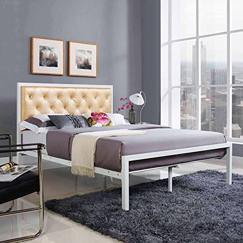Leatherette Platform - Full Size Leatherette Platform Bed, White Champagne, Foot Glides, Bedroom Furniture, Bed Frame with Headboard, Steel Rod Support System, Bundle with Our Expert Guide with Tips for Home Arrangement