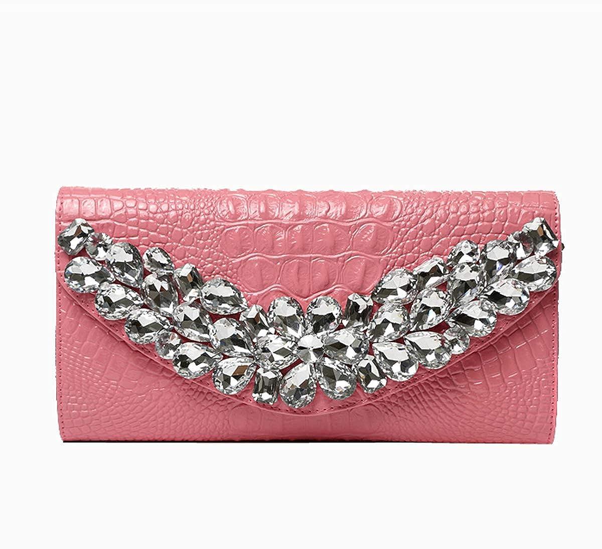 f4dd9dfeab20 Womens evening clutch leather diamond shoulder diagonal evening bag wedding  party prom pink inch handbags jpg