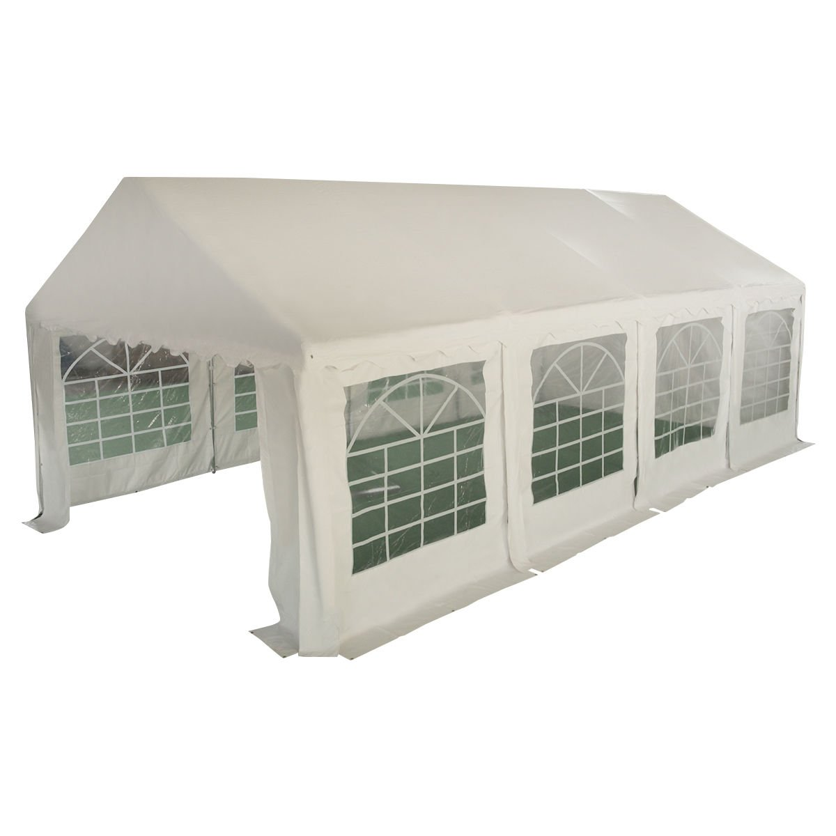 GHP 13'x26' PVC Fabric Galvanized Steel Frame UV Canopy Tent with Plastic Windows by Globe House Products