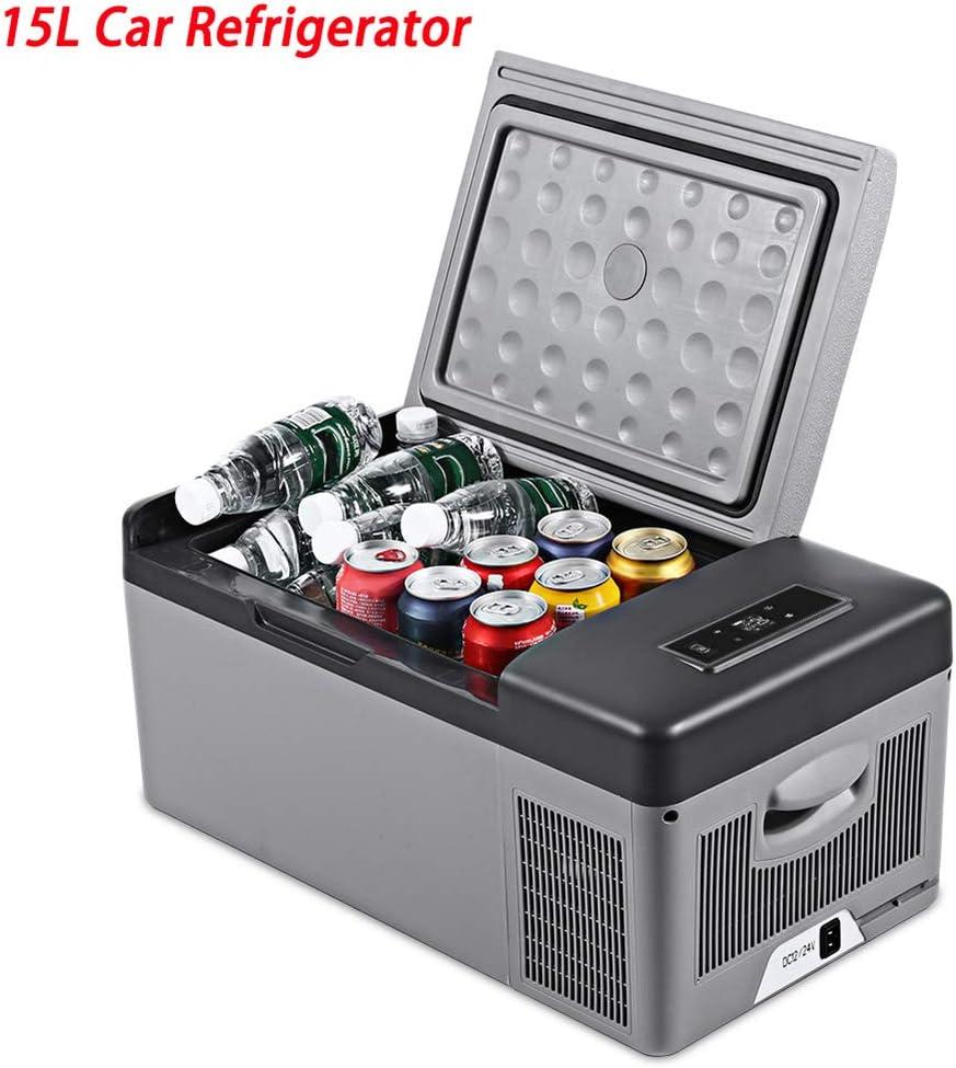 Refrigerador portátil 16 cuartos15L de vehículos automóvilescamionetas vehículos recreativos Botes Mini refrigeradores para Conducir Viajes Pesca en Exteriores y en el hogar12 / 24 VCC y 110-240 CA