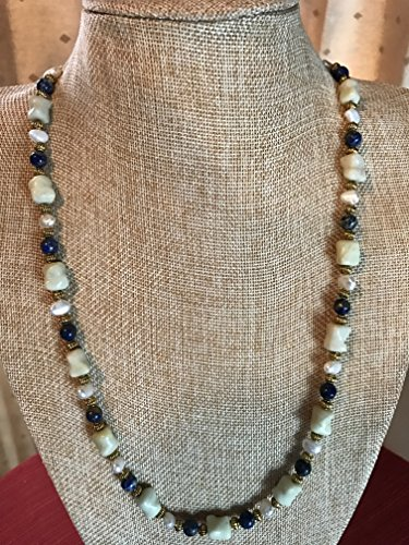 - Blue Sodalite, White Freshwater Pearl, and Sea Green Italian Onyx Handmade Necklace with Gold Colored Metal Spacers