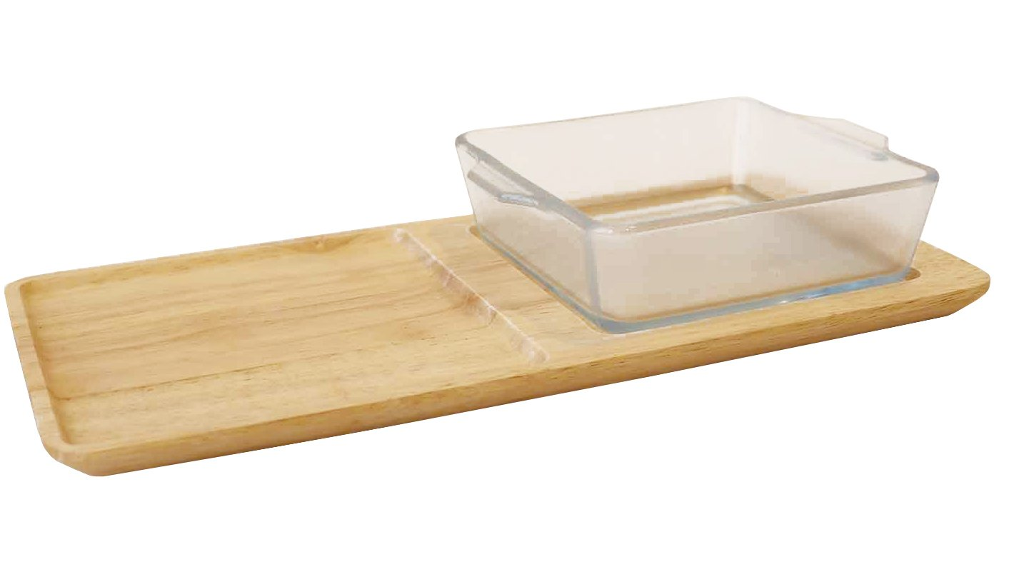 Bread dish set, non-Stick Ceramic Coating Bakeware Cera Bake Set with wood tray (12×6 inch) By Aderia