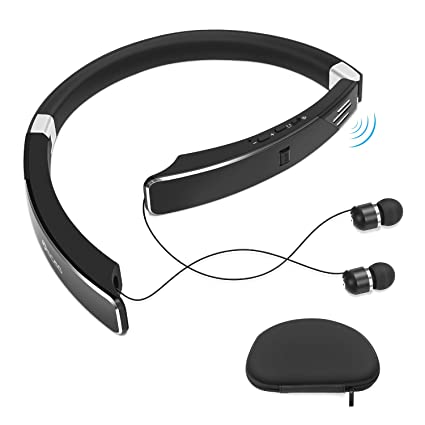30a47a4f73b Neckband Bluetooth Headphone with External Speaker, Foldable Design with  Retractable Wired Earbuds Bult in Microphone