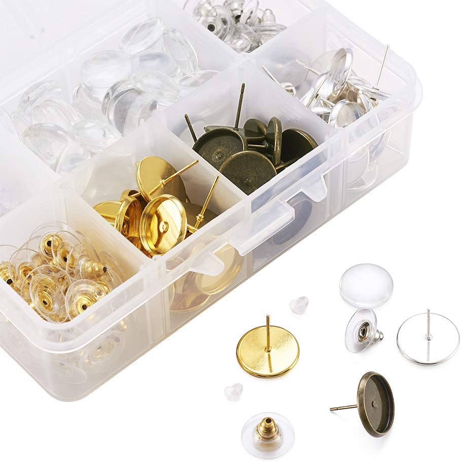 Pandahall 1Box//310pcs Earring Findings Set Jewelry Making Supplies Kit with Plastic//Brass Ear Studs Ear Nuts and Flat Round Cabochon Mixed Color 11x6.8x2.9cm