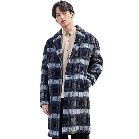 Abrigo de lana Abrigos Abrigo de lana para Hombre Rompevientos de Cuello Largo y Plano Abrigo