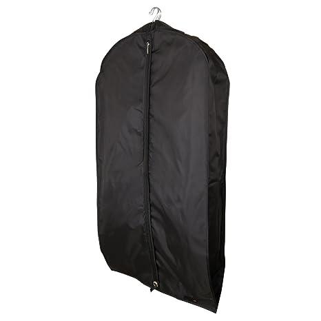 Hangerworld Funda Porta Traje 112cm Anti-Polvo en Nilón Impermeable Negro con Cremallera