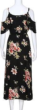 Amazon Com Vestido Floral De Verano Para Mujer Talla Grande Casual Manga Corta Hombros Descubiertos Para Playa Largo Negro L Clothing