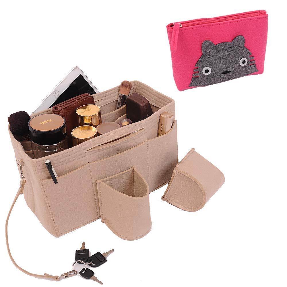 Felt Purse Organizer, Purse Organizer, Handbag Organizer For Tote & Handbag, Multi-Pocket Handbag Shaper, Speedy, Neverfull.One Free Felt Zipper Purse(7.8''X5.9''X2.0'') (Large:11.8'' x 5.9'' x 7.1'')