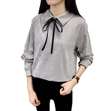 Womens Blouse Long Sleeve Shirt Preppy Bow Shirt Corduroy Plus Thick Solid Color Turn-Down