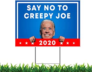 M&R 2 Sided! Say No to Creepy Joe 12 x 18-inch Yard Sign (Outdoor, Weatherproof Corrugated Plastic) Metal Stake Included