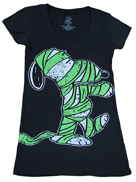296c39ea Image Unavailable. Image not available for. Color: Peanuts Womens Black Snoopy  Mummy T-Shirt Halloween ...