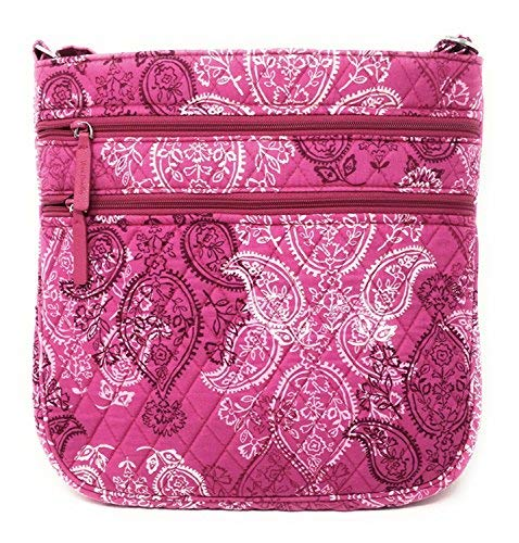 (Vera Bradley Triple Zip Hipster Cross-body Bag with Updated Solid Interiors (Stamped Paisley with Pink Interior))