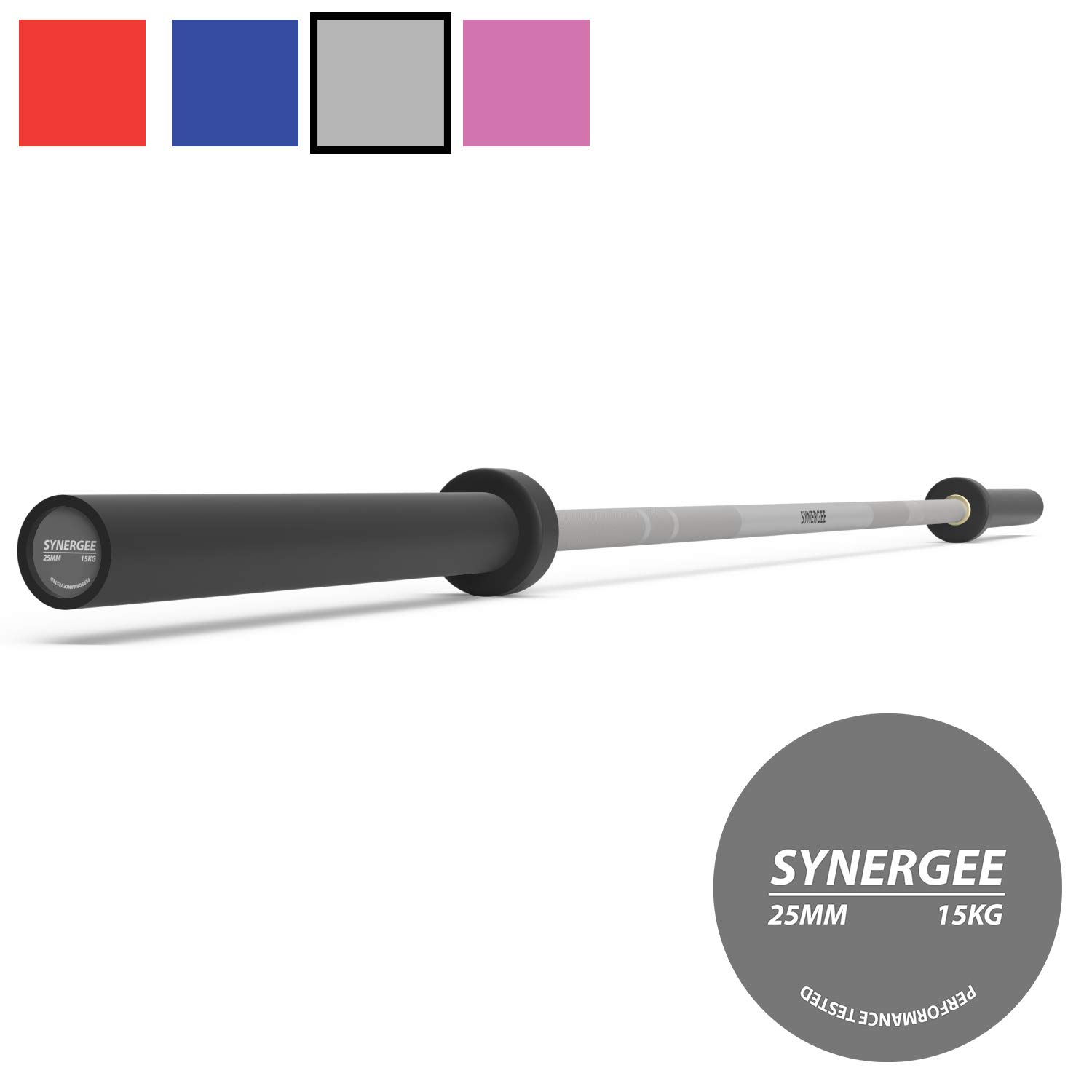 Synergee Games 15kg Colored Women's Gray Cerakote Barbell. Rated 1500lbs for Weightlifting, Powerlifting and Crossfit