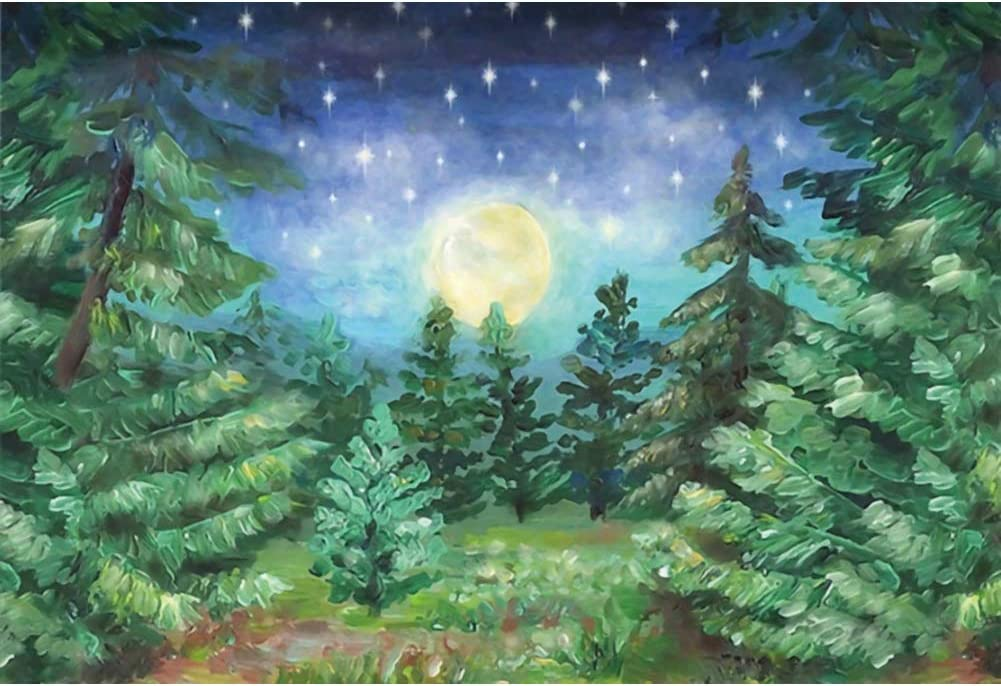 LFEEY 7x5ft Vinyl Christmas Pine Forest Snow Winter Night Backdrop for Photography Background Glorious Moon Stars Holiday Party Decor TV Show Adults Kids Portraits Photo Studio Props