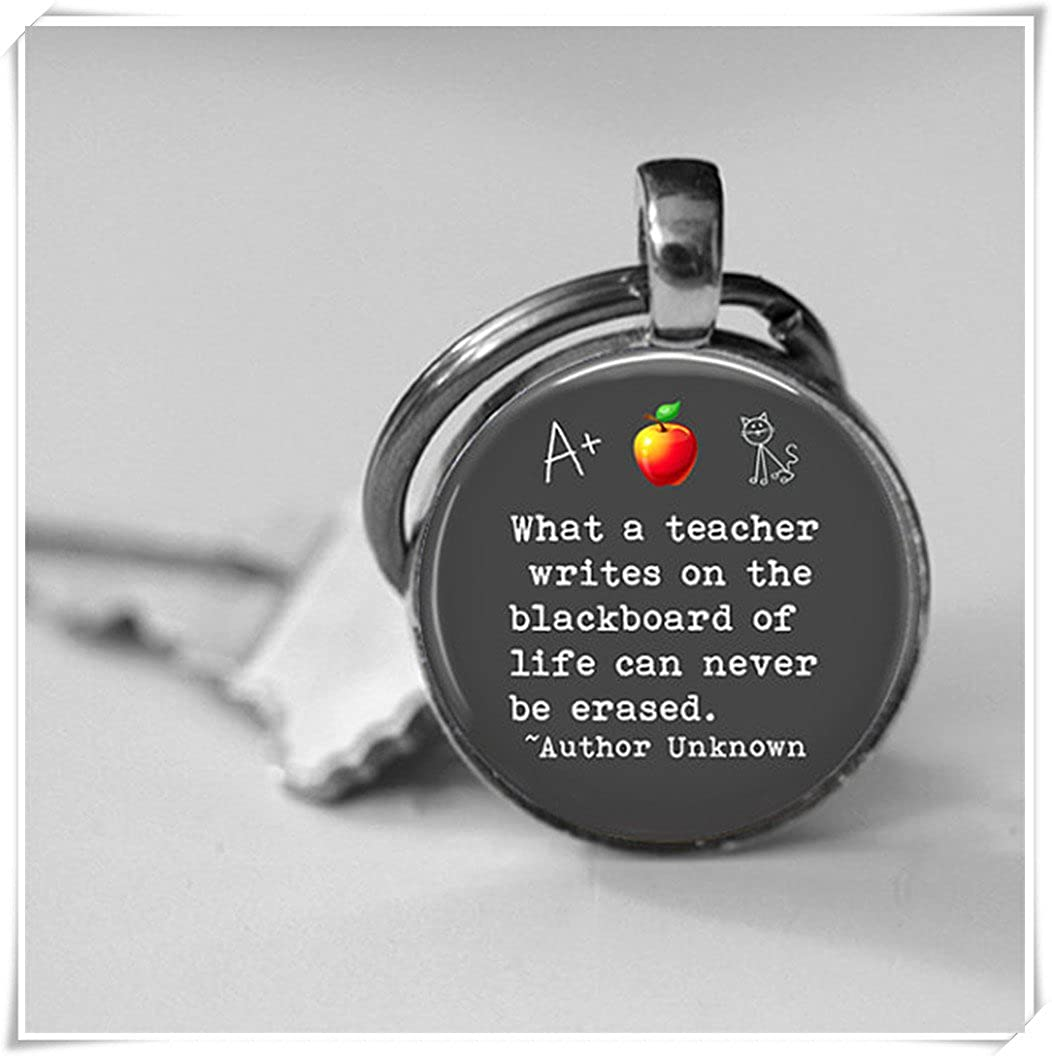Dandelion Teacher,Appreciation Teacher Quote Key Chain, Glass Dome Pendant,Teacher Gift, Blackboard Life,Quote Black wish dandelion