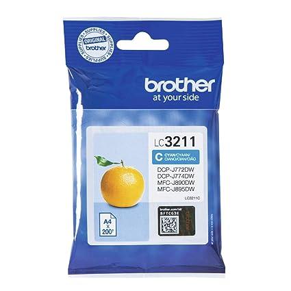 Brother LC3211C Cartucho de tinta cian original para las impresoras DCPJ572DW, MFCJ491DW, MFCJ497DW, MFCJ890DW y MFCJ895DW duración estimada hasta 200 ...