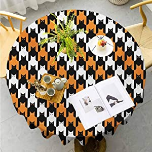 "Jktown Halloween Printed Tablecloth Digital Style Catstooth Pattern Pixel Spooky Harvest Fashion Illustration Resistant/Spill-Proof/Waterproof Diameter 40"",Orange Black White"