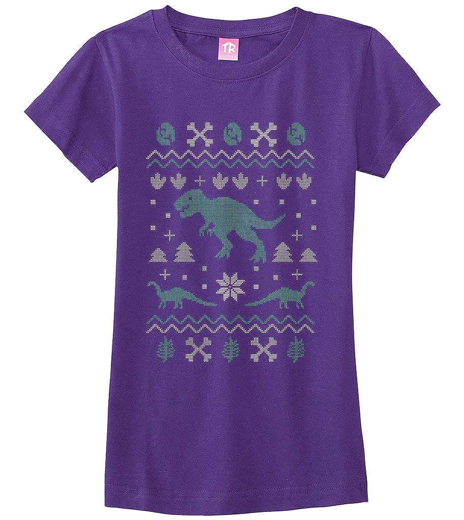 7344f49f2 Amazon.com: Threadrock Big Girls' Dinosaur Ugly Christmas Fitted T-Shirt:  Clothing