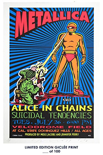Rock Concert Poster (RARE POSTER thick METALLICA / ALICE IN CHAINS concert poster 1994 rock REPRINT #'d/100!! 12x18)