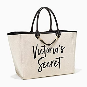 ee5d662201b6e9 Image Unavailable. Image not available for. Color: Victorias Secret Tote  Canvas White Gold Chain Leather Black Handle