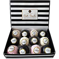 Luxurico Bath Bombs Gift Set 12 Natural Fizzies, Shea Butter & Lavender Dry Skin Moisturize, Perfect for Bubble & Spa…